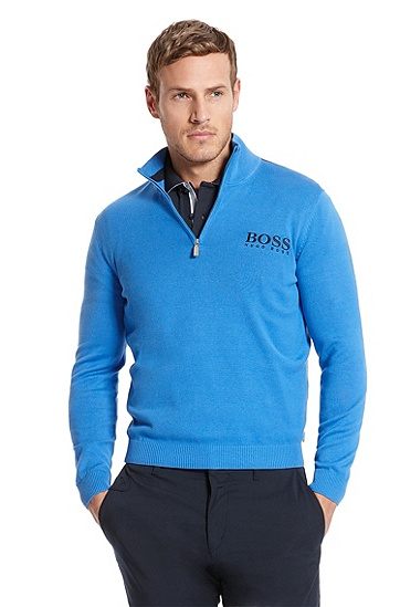 Stand Zip Collar 'Zaymer MK' Sweater, Medium Blue