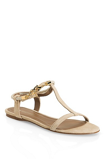 Braided Leather 'Viole' Sandal, Light Beige