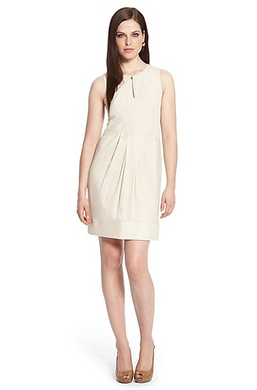 Pleated Crepe Shift 'Denira2' Dress, Open Beige