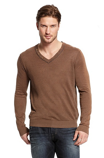 V-neck Linen 'Abun' Sweater, Light Beige