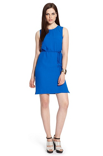 Flared-Hem Crepe 'Derame' Belted Shift Dress, Medium Blue
