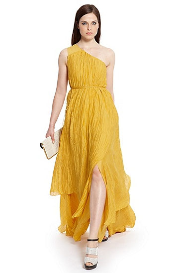 One-Shoulder Textured Silk 'Diliett' Floor-Length Dress, Medium Yellow