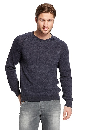 Crewneck 'Abbas' Sweater, Dark Blue