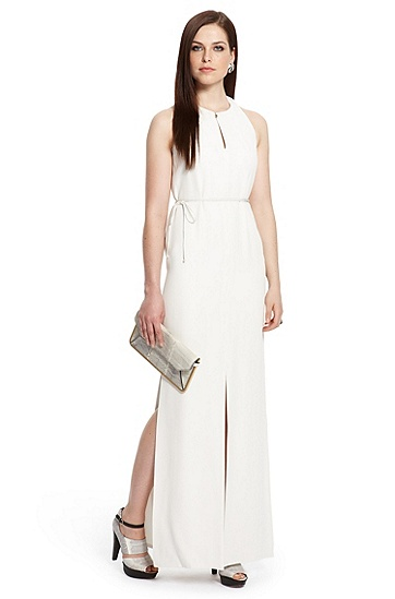 Multi-slit Crepe Maxi 'Dallis' Dress, Open Beige