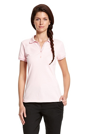 Striped Stretch-Cotton 'Paulla' Polo Shirt, Light/Pastel Pink