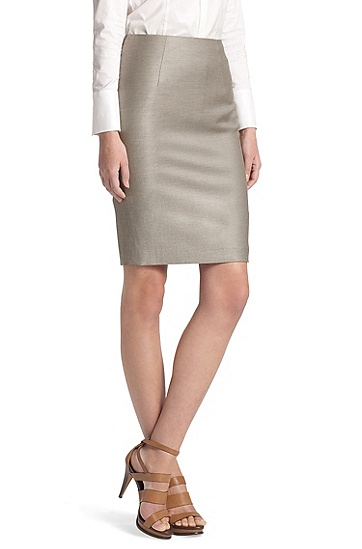 Wool Blend 'Vilina' Pencil Skirt, Open Beige