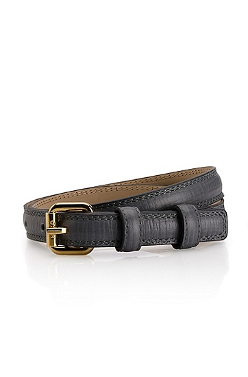 Leather 'Gemila-P' Belt, Medium Grey