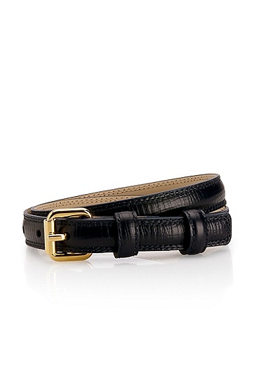 Leather 'Gemila-P' Belt, Navy