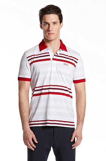 Slim Fit Striped 'Paule' Polo Shirt, Bright Red