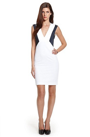 Color-Block Stretch-Cotton 'Kirca' Dress, White