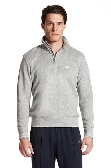 Neck Zip 'Sweat' Sweatshirt, Light/Pastel Grey