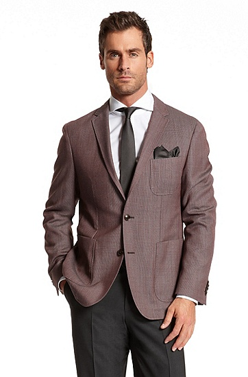 Regular Fit Cotton-Blend 'Mitchel' Sport Coat, Open Red