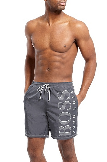 'Killfish BM' | Oversized Logo Board Shorts, Charcoal