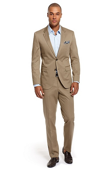 Modern Fit Cotton 'The James/Sharp' Suit, Open Brown