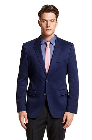 Slim Fit Stretch-Cotton 'The Bay' Sport Coat, Open Blue