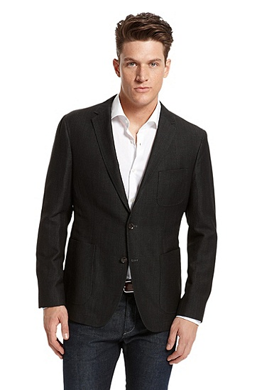 Regular Fit Lightweight-Cotton 'Mitchel' Sport Coat, Black