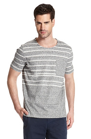 Striped 'Dug' T-Shirt, Open Grey