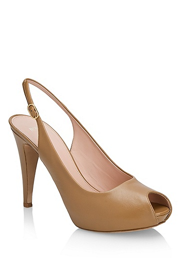 Leather Slingback 'Nicoba' Peep-toe Sandal, Light/Pastel Brown