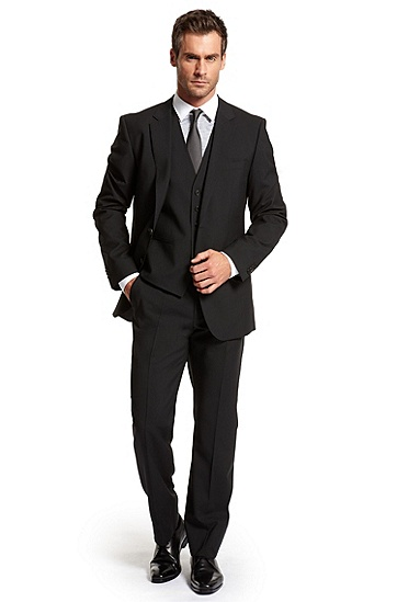 Modern Fit Two Button 'The James/ Sharp' Suit, Black