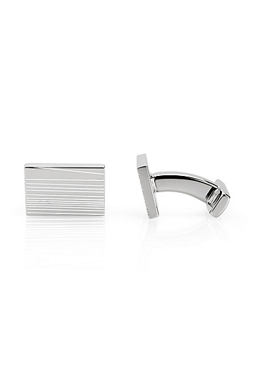 Rectangle Etched 'E-Stripes' Cufflinks, White