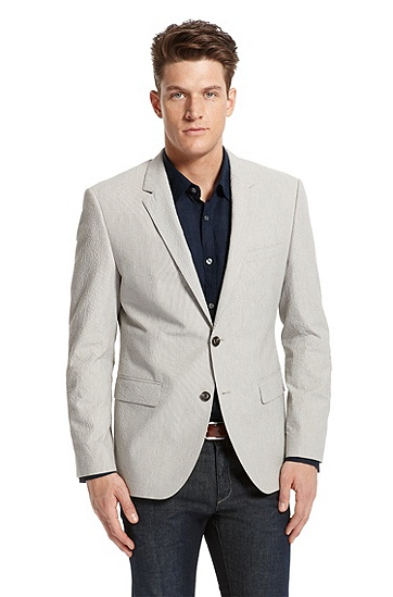 Modern Fit Seersucker 'The James3' Sport Coat by BOSS Black, Open Beige