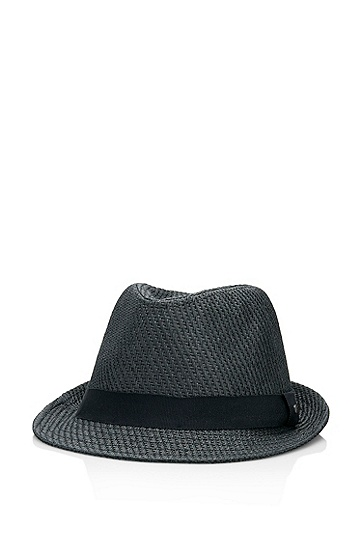 Woven Fedora 'Seliver' Hat, Open Grey