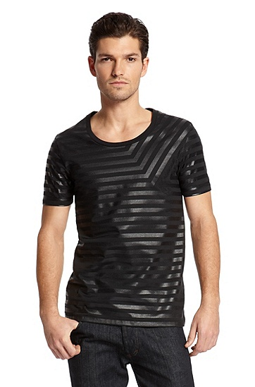 Round Neck Striped 'Dumi' T-Shirt, Black