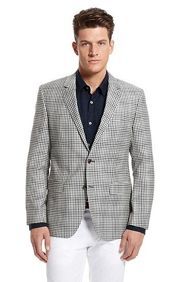Modern Fit Wool Gingham 'The Smith7' Sport Coat, Open Blue