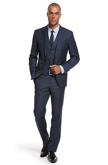 Modern Fit Three-Piece 'The James/Sharp WE' Suit, Dark Blue