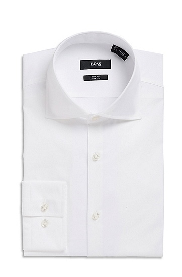 'Jaron' | Slim Fit, Spread Collar Dress Shirt, White