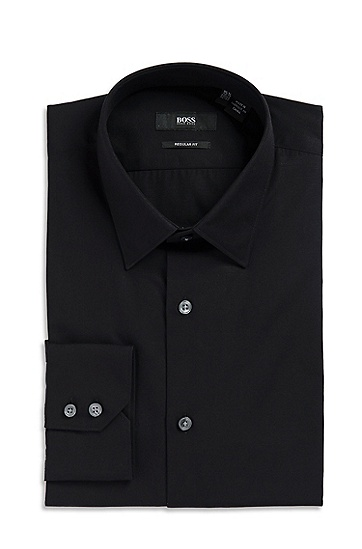 'Gulio US' | Classic Fit, Modified Point Collar Dress Shirt, Black