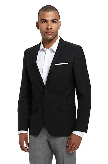 'Aikos' |  Slim Fit, Stretch Wool Sport Coat, Black