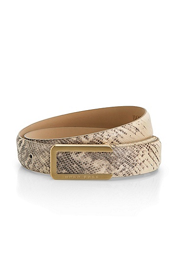 Python-Print Leather 'Jorgia-E' Belt, White