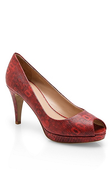 Snake-Print Leather 'Eldoral' Platform Pump, Red