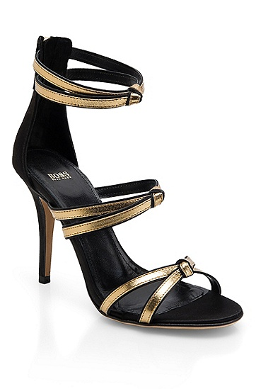 Metallic Leather 'Nadage-S' Sandal, Black
