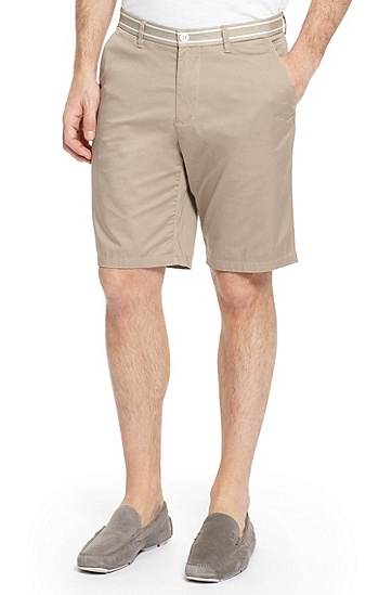 'Clyde' | Regular Fit, Cotton Shorts, Medium Beige