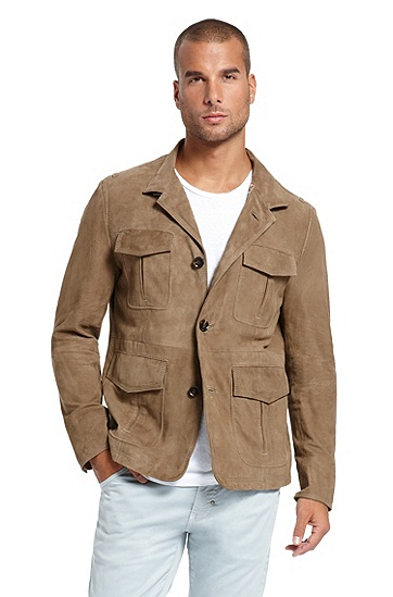 Suede 'Niver' Field Jacket, Open Beige