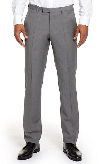 'Shark' | Modern Fit, Wool-Cashmere Dress Pant, Medium Grey