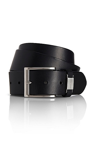 'Connio' | Metal Tab-Detailed Leather Belt, Black