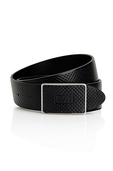 Perforated Leather 'Tristo' Belt, Black
