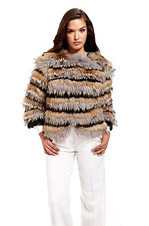 'Coat' | Striped Fur Cropped Coat