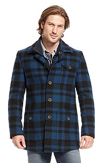 'Off' | Wool-Blend Checked Coat