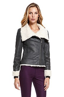 'Ofelia' | Shearling-Trim Faux Leather Jacket