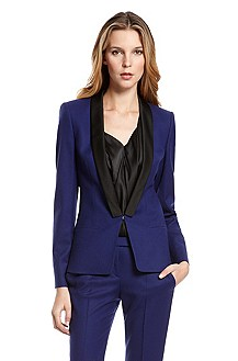 'Acerli' | Stretch-Wool Contrast Lapel Blazer
