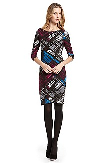 'Dineve' | Elbow-Sleeve Patterned Dress
