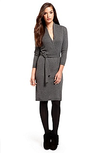 'F4541' | Wool-Blend Shawl Collar Dress
