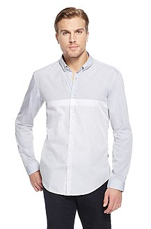 'Peric' | Slim Fit, Cotton Casual Shirt