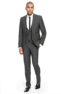 'Anbert/Wigo/Hewis' | Slim Fit, 3-Piece Virgin Wool Suit