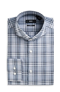 'Dwayne' | Slim Fit, Extreme Spread Collar Checked Dress Shirt