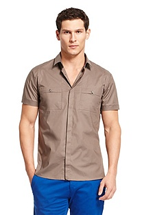 'Eirik' | Slim Fit, Stretch Cotton Casual Shirt